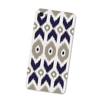 Ikat Iphone Skin 4S: Gadget Sticker Cover for Iphone 4 Skin - Southwest Tribal in Navy Blue and Grey Boho Iphone Skin