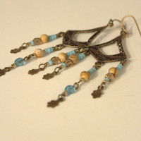 Brass Chandelier Earrings, antique style brass with tan and light turquoise / light blue