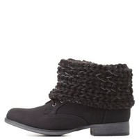 Sweater-Cuffed Combat Booties by Charlotte Russe - Black