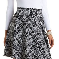 Textured Damask Print Skater Skirt by Charlotte Russe - Black/White