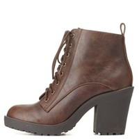 Lace-Up Chunky Heel Work Boots by Charlotte Russe - Brown