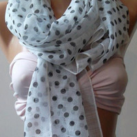 Chiffon -  Elegance -  Shawl  Scarf   Polka Dot