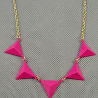 unique style necklace pink Geometric pendant women metal long necklace simple style necklace  XL120