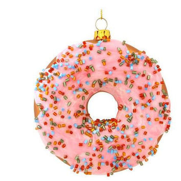 Frosted Doughnut Glass Christmas Ornament - Default