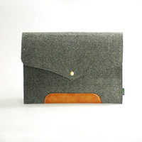 "Made to order Laptop Macbook Air Pro 11"" 13"" 15"" 17""   Leather Felt Sleeve Case Bag-Grey-E1137-13Y"
