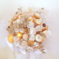 Custom Wedding Button Bouquet with sparkle and glam.