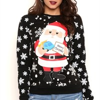 Long Sleeve French Terry Top with Santa Claus Snowflake Print
