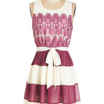 ModCloth Mid-length Sleeveless A-line Early to Sunrise Dress in Berry