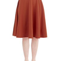ModCloth Long A-line Bugle Joy Skirt in Rust