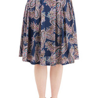 Pink Martini Boho Long A-line What Can I Sway? Skirt in Blue