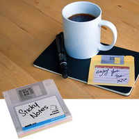 FLOPPY DISK STICKY NOTES / If it can't fit on a floppy disk, it's not worth remembering! / 3.5 inch x 3.5 inch oversized sticky notes with printed 'floppy disk' design.  Pack of 3 pads, 150 total sheets.