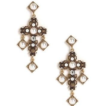 Gold Pearl Cross Earrings