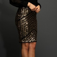 Gold Geometric Sequin Pencil Skirt