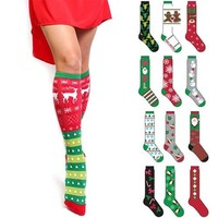6 Pack: Knee High Christmas Socks - Festive and Fun