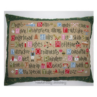 Christmas Cross Stitch Pillow, Green Pillow, Christmas Alphabet