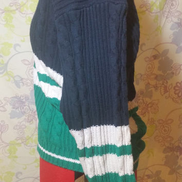Tommy Hilfiger Slouchy Vintage 90s Color Block Sweater
