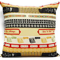 Typewriter pillow cover, cushion cover 18x18 inch, envelope cover, throw pillows