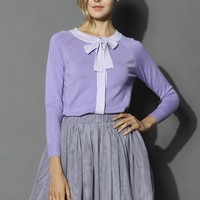Self-tie Bow Knitted Lavender Top Purple