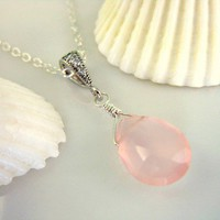Pink chalcedony pendant drop silver necklace