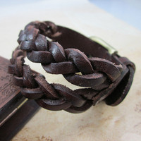 Chocolate Real Leather Woven Women Leather Cuff  Bracelet Men Leather Bracelet  SL0262
