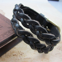 Black Real Leather Woven Women Leather Cuff  Bracelet Men Leather Bracelet  SL0262-BL