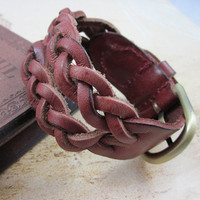 Wine Real Leather Woven Women Leather Cuff  Bracelet Men Leather Bracelet  SL0262-Wine