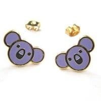 SALE - Small Koala Bear Round Animal Stud Earrings in Purple on Gold