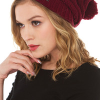 Beanie with Pom in Burgundy