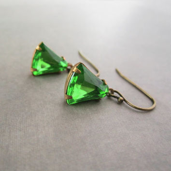 Art Deco Earrings - Apple Green Vintage Rhinestone Jewelry - Estate Style
