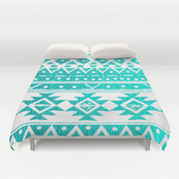 AQUAMARINE TRIBAL  Duvet Cover by Nika