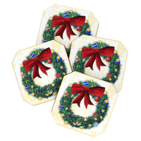 Madart Inc. Holly Wreath Coaster Set× 1