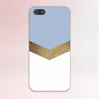 Gold Glitter x Sky Blue Chevron Design Case for iPhone 6 6 Plus iPhone 5 5s 5c iPhone 4 4s Samsung Galaxy s5 s4 & s3 and Note 4 3 2