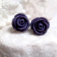 Dark Purple Flower Earrings