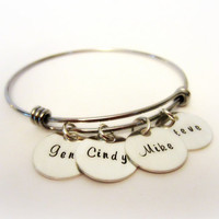 Personalized Mom Jewelry-Alex and Ani Inspired Bracelet-Stackable Bracelet Stainless Steel-Grandmother Jewelry