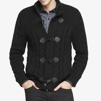 CABLE KNIT MOCK NECK TOGGLE FRONT CARDIGAN from EXPRESS