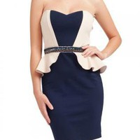 Navy&amp;Cream Contrast Peplum Dress with Embellished Waist