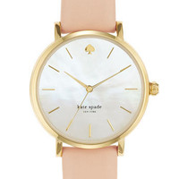 kate spade new york 'metro' round leather strap watch | Nordstrom