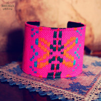 Bohemian Cuff Bracelet Mexican Textile Faux Leather Upcycled Recycled Jewelry Neon Green Boho Hippie Skull Eco Friendly by TheBohemianDream