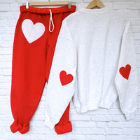 Heart Patch Sweatpants and Sweatshirt HOLIDAY SET: red and white pant, Elbow heart patch sweatshirt