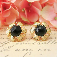 Vintage Button Earrings,Black Gem Flower Earrings, Studs, Clip on jewelry, Bridesmaid Earrings, Black Gem Earrings, Floral Earrings