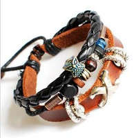 Couple Bracelet Unisex Leather Bracelet Jewelry Bangle bracelet women Leather Bracelet Girl Ropes Bracelet Men Leather Bracelet  670A