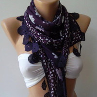 ON SALE   Scarf  Purple  Cotton Sale Scarf Shawl