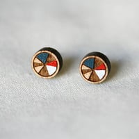 Circle Stud Earrings in Blue and Red