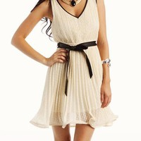 pleated-belted-dress CREAM JADE - GoJane.com