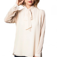 Mademoiselle Bow Collared Blouse - Champagne