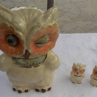 Vintage Owl Decor Original Winking Owl Shawnee 1940'S Cookie Jar Salt and Pepper