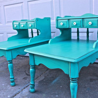 Bayside Blue Vintage Tables /Nightstands /Accented with Dark Glaze /Shabby Chic /Upcycled Vintage /Distressed
