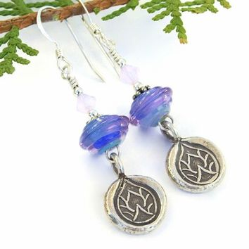 Thai Silver Lotus Handmade Earrings Purple Blue Lampwork Yoga Jewelry