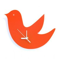 Orange Birdie Wall Hanging Clock