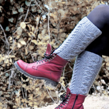 Winter discount sales Emofo Knitted Legwarmers Gray, Cable Knit Boot Cuff. Knit Leg Warmers, Knee High Sock, Fall Boot Toppers, Stocking Stu